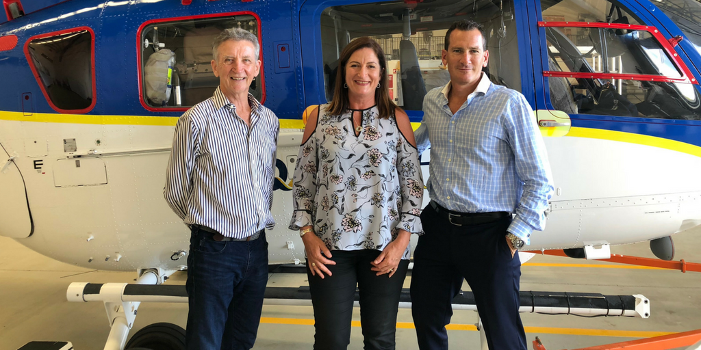 (L-R) Australian LifeFlight board member, Rod Forrester with LifeFlight CEO Leanne Angel and Travis Schultz.